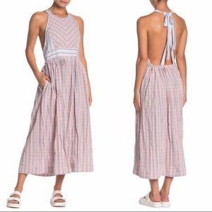 Free People Open-Back Mixed Pattern Halter Dress